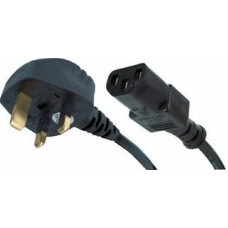 Straight C13 IEC to UK mains plug, 2m Black 5A - NEW