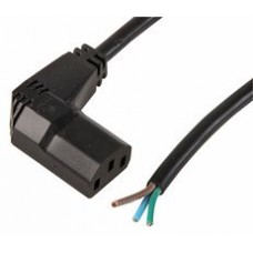 Right angle IEC C13 'Kettle Connector' power connector to bare end cable - Black 2m, 10A rated