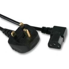 Right angle power lead C13 IEC to UK mains plug, 2m Black 5A - NEW